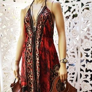 90s Batik embroidered cotton dress M